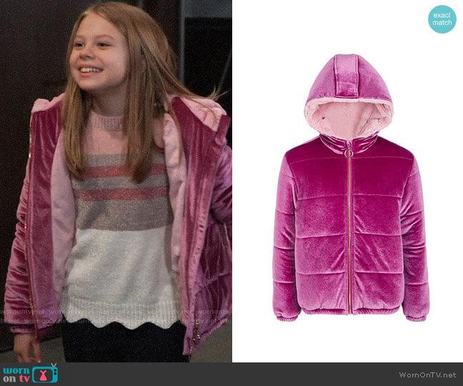 Epic Threads Big Girls Velvet Puffer Jacket worn by Charlotte Cassadine (Scarlett Fernandez) on General Hospital