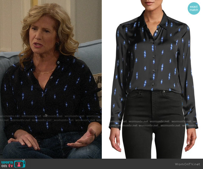 Equipment Essential Silk Shirt in Black/Hyper Blue worn by Vanessa Baxter (Nancy Travis) on Last Man Standing