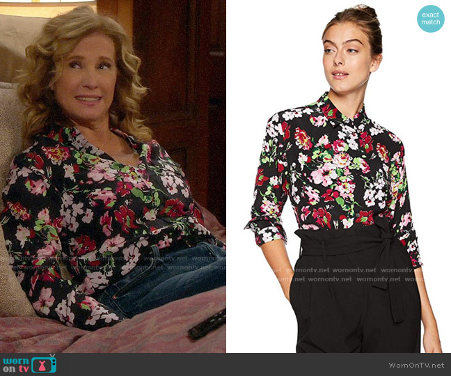 Equipment Signature Blouse in Floral Symphany worn by Vanessa Baxter (Nancy Travis) on Last Man Standing