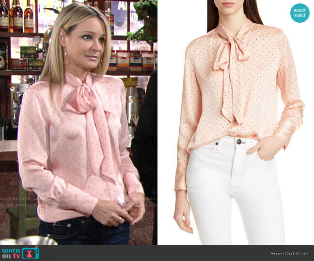 Equipment Luis Blouse in Rose Cloud True Black worn by Sharon Collins (Sharon Case) on The Young & the Restless