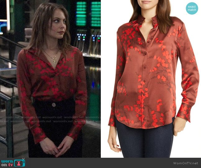 Equipment Maisa Top in Smoked Paprika Multi worn by Thea Queen (Willa Holland) on Arrow