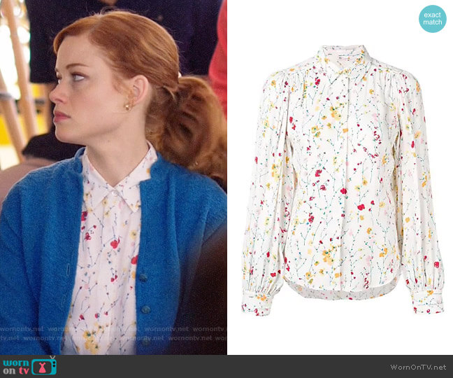 Equipment Marcilly Floral Blouse worn by Zoey Clarke (Jane Levy) on Zoeys Extraordinary Playlist