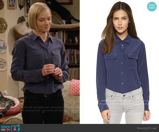 Equipment Signature Peacoat Blouse worn by Jill Kendall (Jaime Pressly) on Mom