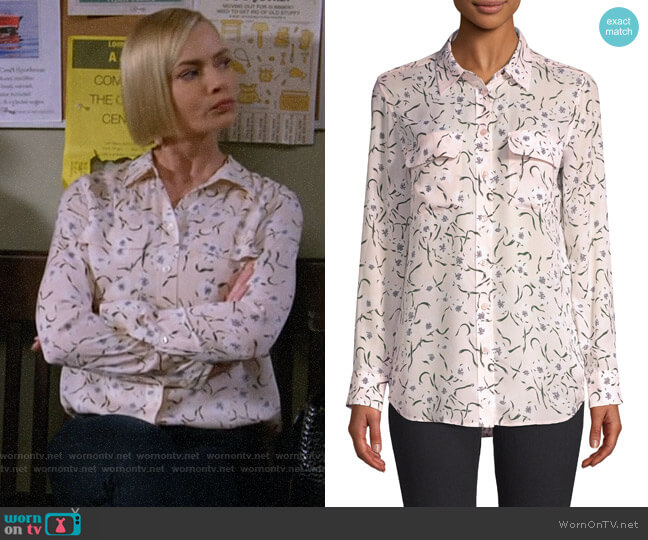 Equipment Slim Soirée Floral Silk Blouse worn by Jill Kendall (Jaime Pressly) on Mom
