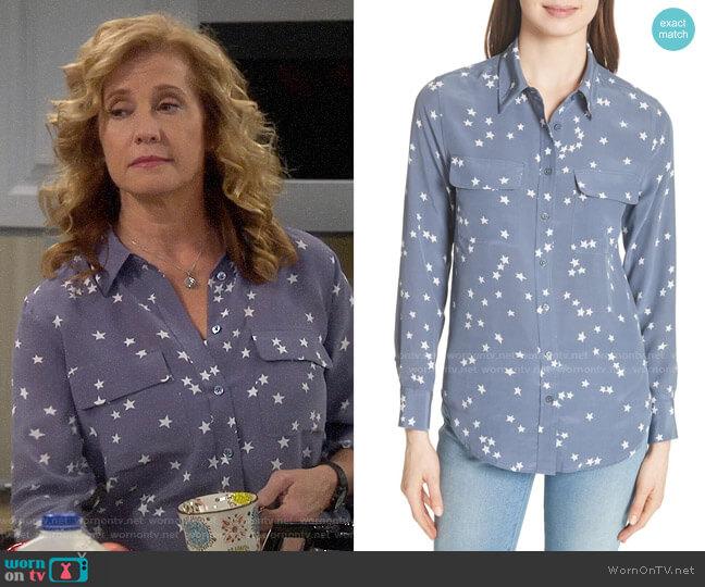 Equipment Starry Night Silk Shirt worn by Vanessa Baxter (Nancy Travis) on Last Man Standing