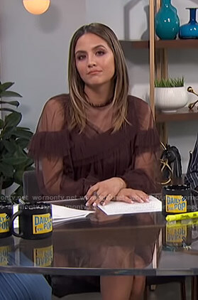 Erin's brown ruffled sheer dress on E! News Daily Pop