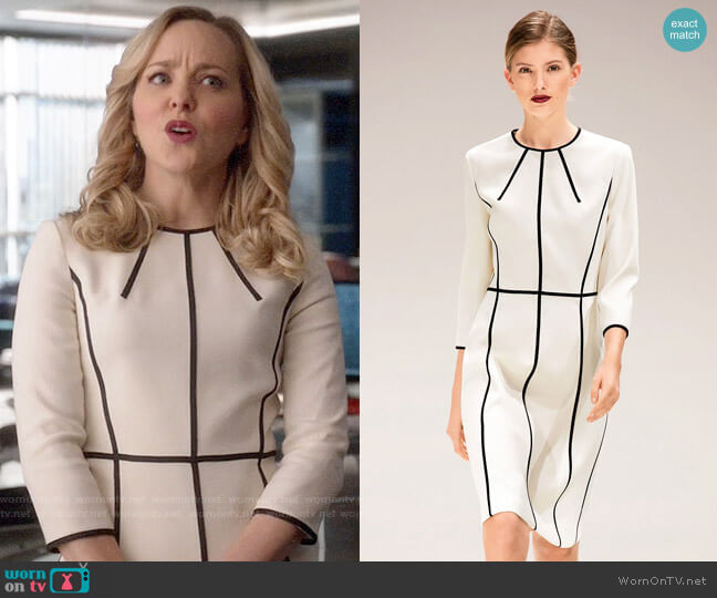 Escada 3/4 Sleeves Piped-stripes Dress worn by Marissa Morgan (Geneva Carr) on Bull