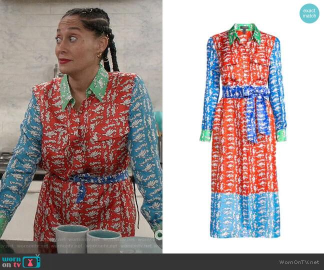 Escada Dsehra Colorblock Silk Printed Shirtdress worn by Rainbow Johnson (Tracee Ellis Ross) on Blackish