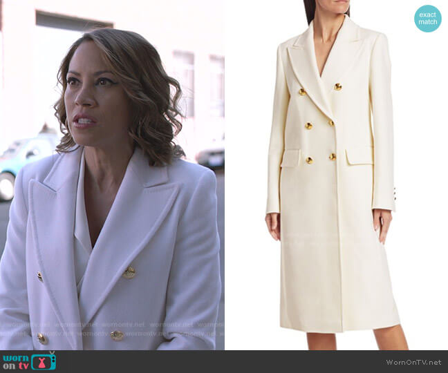 Malones Double-Breasted Wool Coat by Escada worn by Elizabeth Rodriguez on Shameless