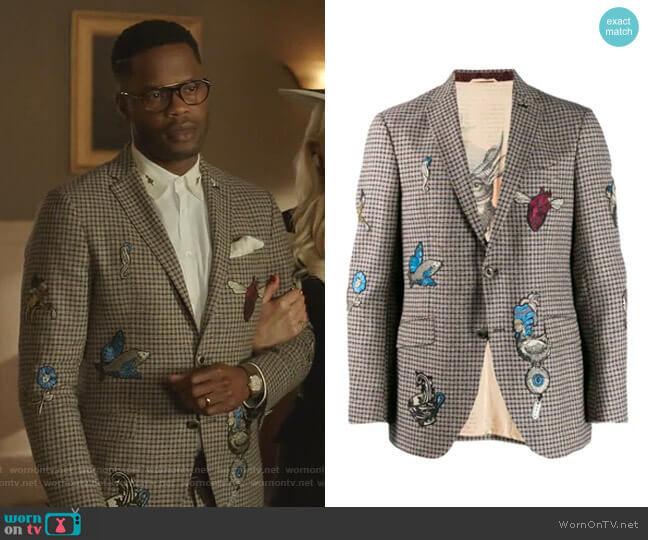 Check Jacket with Embroidery by Etro  worn by Jeff Colby (Sam Adegoke) on Dynasty