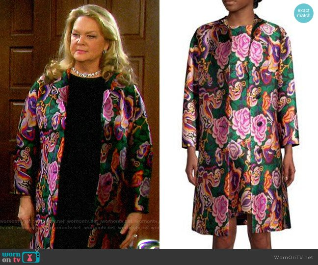 Etro Floral Jacquard Topper worn by Anna DiMera (Leann Hunley) on Days of our Lives