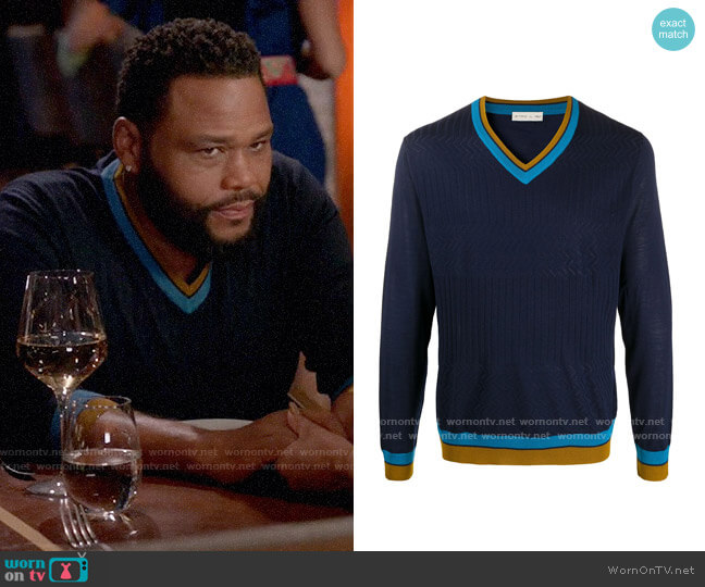Etro Stripe Trim Jumper worn by Andre Johnson (Anthony Anderson) on Blackish