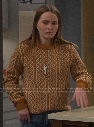 Eve's tan printed sweater on Last Man Standing