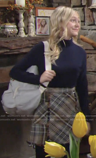 Faith's plaid skirt on The Young and the Restless