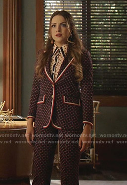 Fallon's blue geometric suit on Dynasty