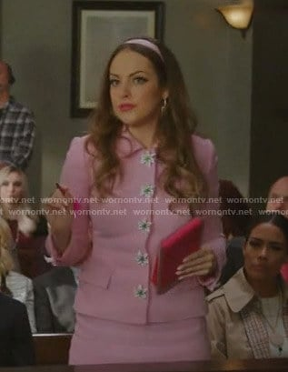 Fallon's pink floral embellished skirt suit on Dynasty
