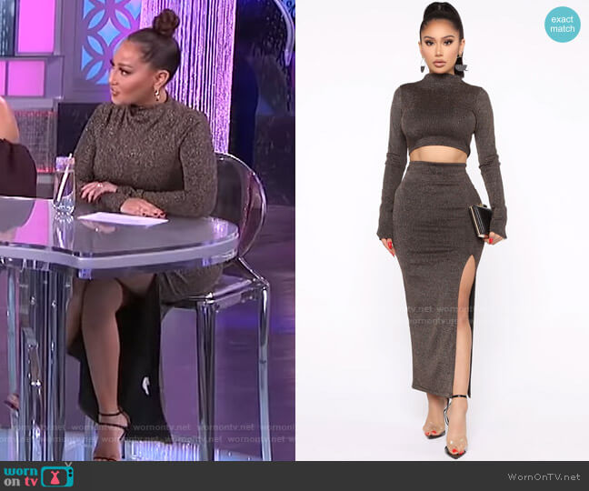 You Knew About It Skirt Set by Fashion Nova worn by Adrienne Houghton  on The Real