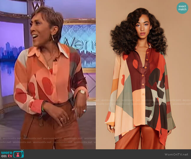 Cubist Lucid Blouse by Fe Noel worn by Robin Roberts  on The Wendy Williams Show