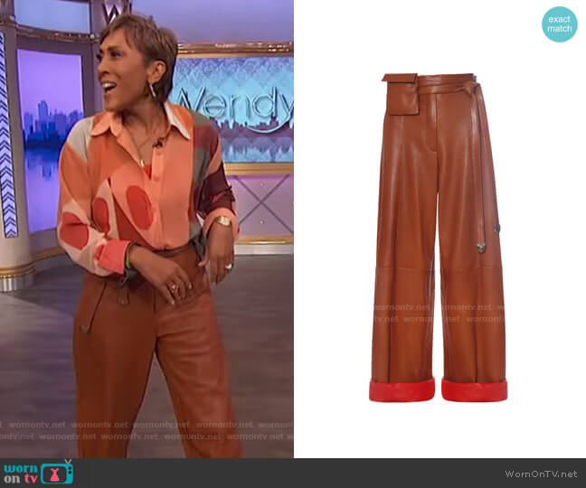 Lambskin Paper Bag Pants by Fe Noel worn by Robin Roberts  on The Wendy Williams Show