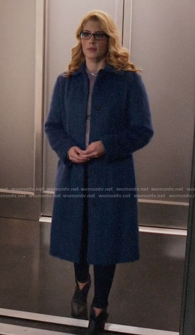 Felicity's long blue fur coat on Arrow