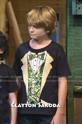 Finn's black camo tuxedo print tee on Bunkd