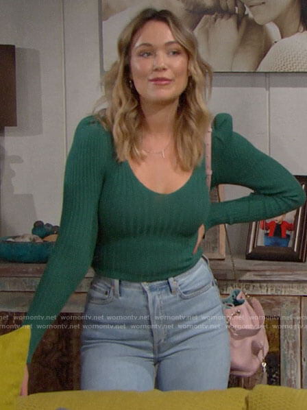 Flo's green ribbed top on The Bold and the Beautiful