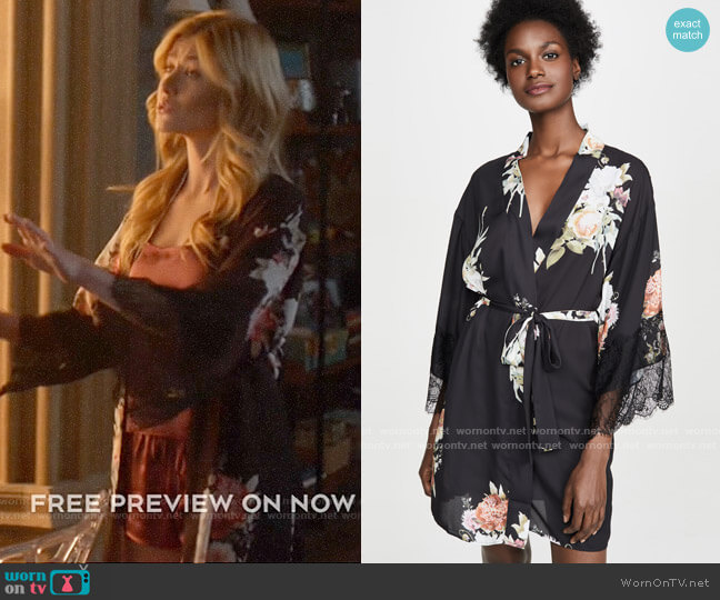 Flora Nikrooz Delphine Robe worn by Mia Smoak (Katherine McNamara) on Arrow