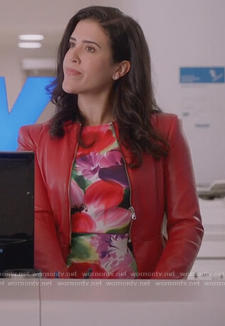 Shannon's floral sheath dress on Kims Convenience