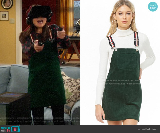 Forever 21 Striped-strap Corduroy Overalls worn by Jen (Krista Marie Yu) on Last Man Standing