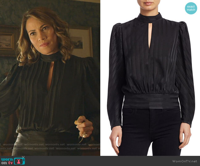 Puff-Sleeve Jacquard Silk Top by Frame worn by Elizabeth Rodriguez on Shameless