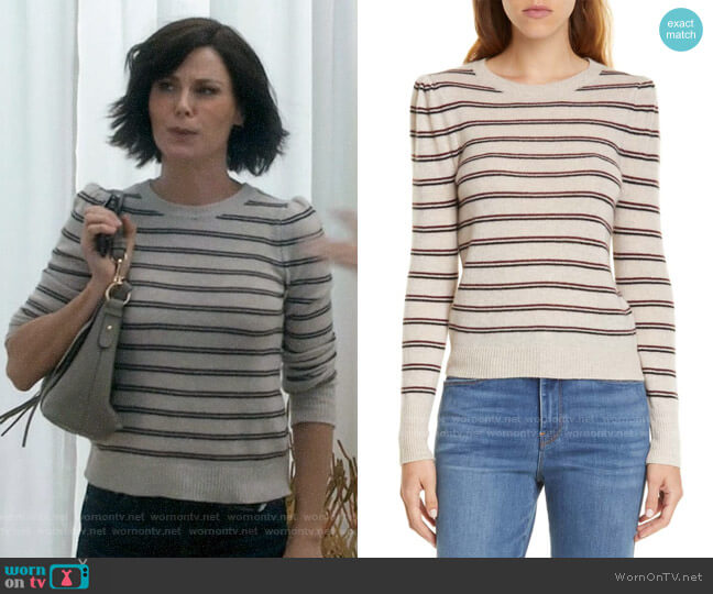 Frame Shirred Stripe Cashmere Sweater worn by Claire Dunphy (Julie Bowen) on Modern Family