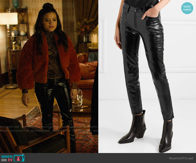 Frame Slick cropped patent-leather high-rise slim-leg pants worn by Maggie Vera (Sarah Jeffery) on Charmed