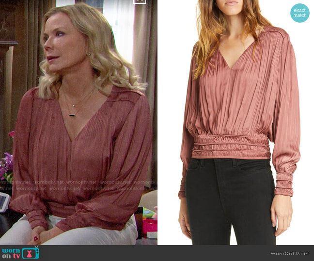 Frame Rosewood V-Neck Pleated Top worn by Brooke Logan (Katherine Kelly Lang) on The Bold & the Beautiful