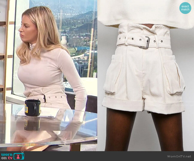 Corduroy Paperbag Shorts by Frankie Shop worn by Morgan Stewart  on E! News