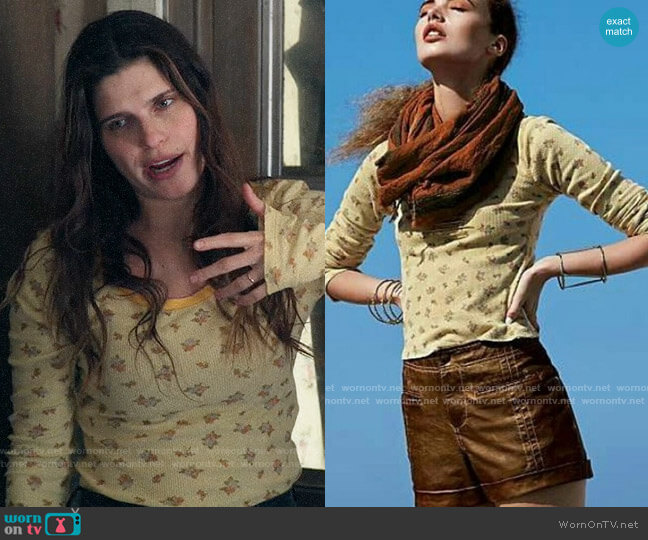 Free People We the Free Ditsy Thermal Tee worn by Rio (Lake Bell) on Bless This Mess