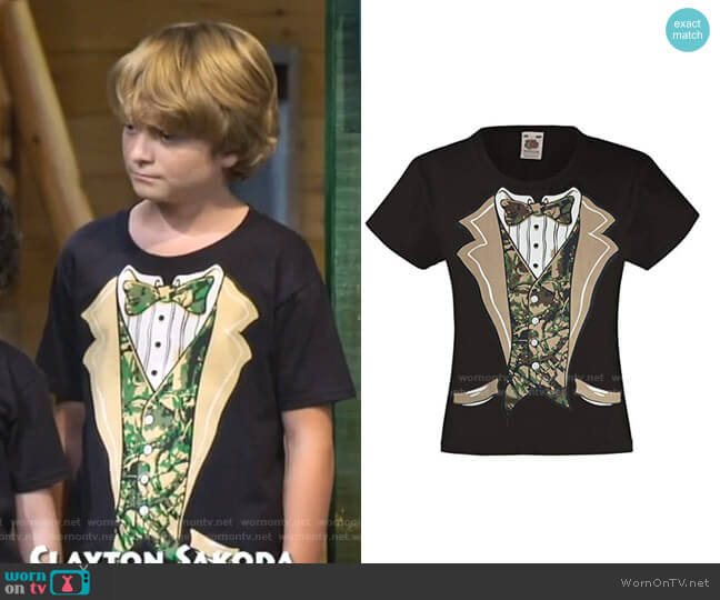 Camo Tuxedo with Bowtie T-Shirt by Fresh Tees  worn by Finn Sawyer (Will Buie Jr) on Bunkd