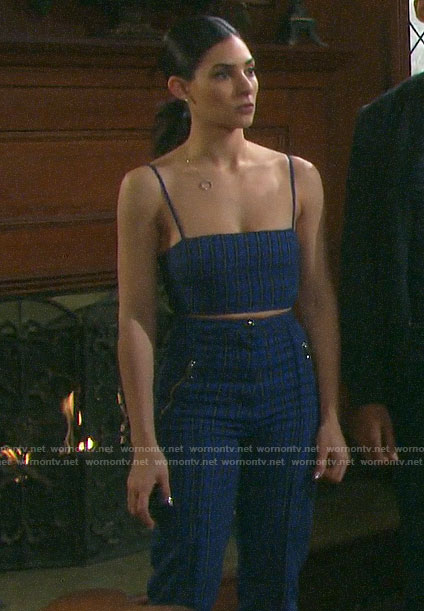 Gabi's blue plaid crop top and trousers on Days of our Lives