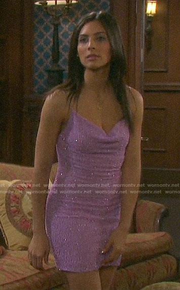 Gabi's lilac embellished NYE dress on Days of our Lives