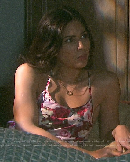 Gabi's rose print chemise on Days of our Lives