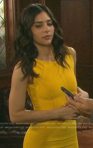 Gabi's yellow bandage crop top and skirt on Days of our Lives