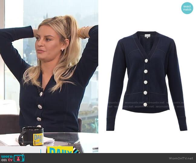 Embellished Cashmere Cardigan by Ganni worn by Morgan Stewart  on E! News