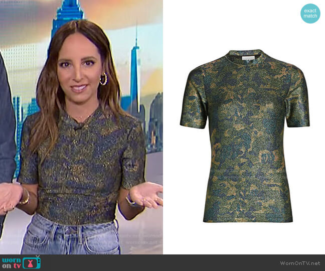 Lurex Jersey Shirt by Ganni worn by Lilliana Vazquez  on E! News