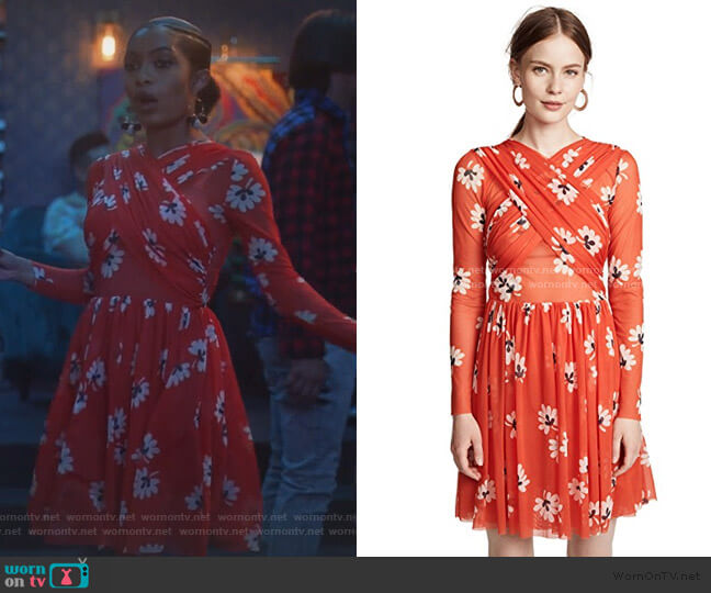 Tilden Sash Dress in Big Apple Red by Ganni worn by Zoey Johnson (Yara Shahidi) on Grown-ish