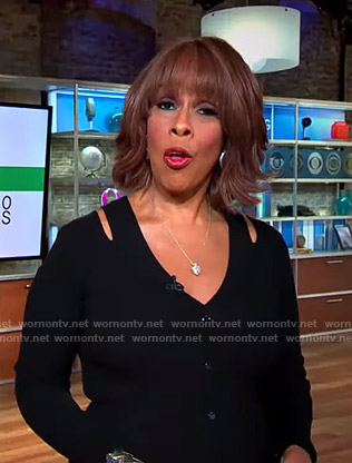 Gayle's black cutout shoulder knit dress on CBS This Morning