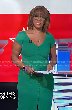 Gayle's green buttoned v-neck dress on CBS This Morning