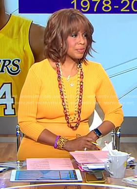 Gayle's yellow ribbed knit dress on CBS This Morning