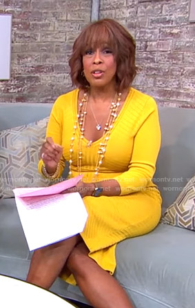 Gayle's yellow ribbed v-neck dress on CBS This Morning