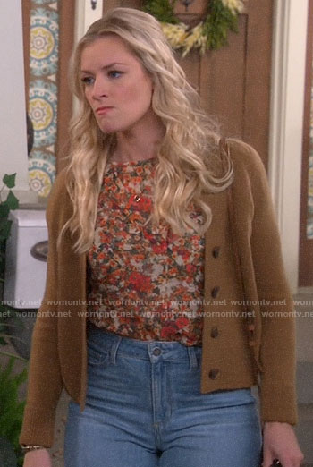 Gemma's tan cardigan on The Neighborhood