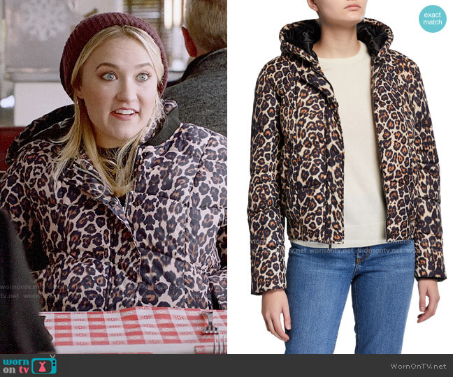 Generation Love Liam Hooded Leopard-Print Puffer Jacket worn by Roxy Doyle (Emily Osment) on Almost Family