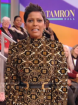 Tamron's printed jacquard dress on Tamron Hall Show
